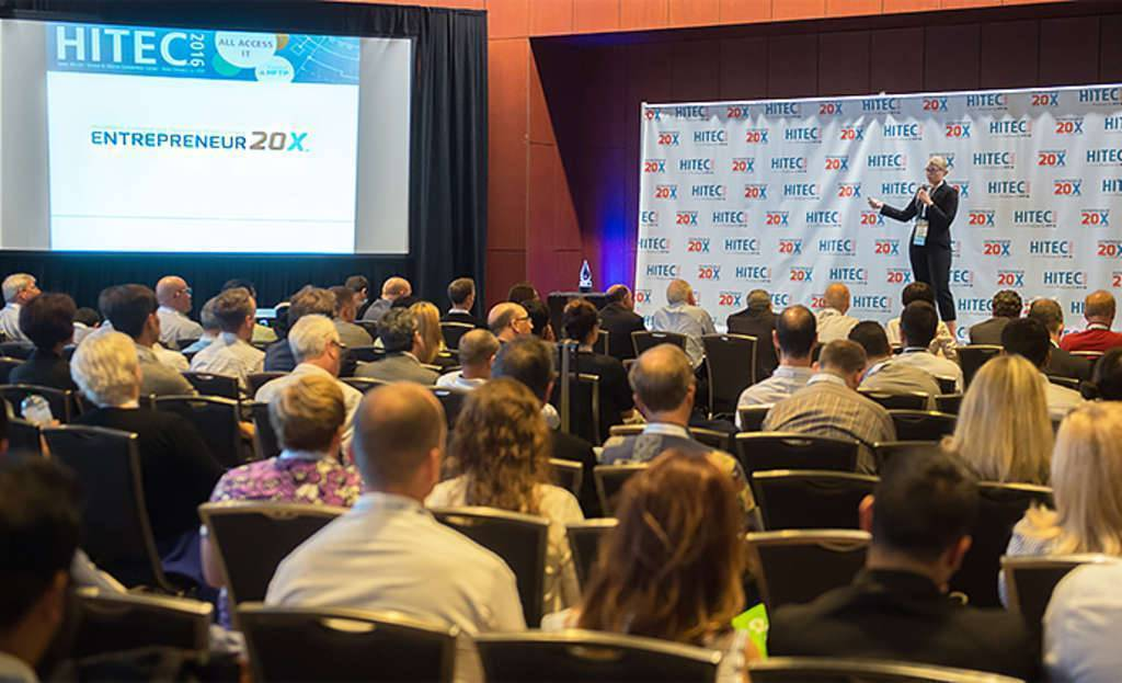 Pictured: Companies pitching at HFTP's second E20X event at HITEC New Orleans last June.